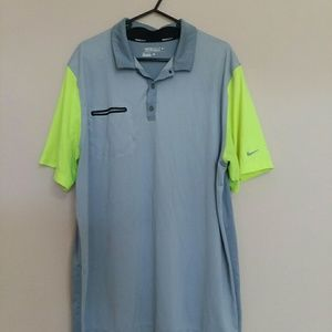NIKE Dry Fit Collared Polo Shirt Gray Green XL